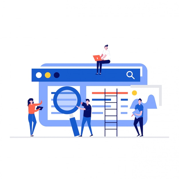 People teamwork together on seo optimization concept with characters, websites.