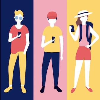 People teens with smartphones