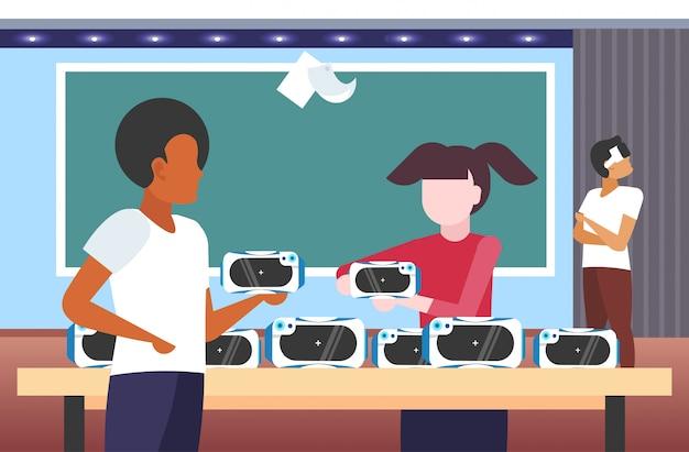 Ключевые слова на русском: люди тестирование 3d очки студенты, носящие виртуальную реальность цифровые очки гарнитура зрение vr технологии концепция современный класс интерьер портрет