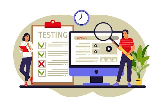 Люди тестируют программное обеспечение, исправляющее ошибки в аппаратном устройстве. тестирование приложений и концепция ит-услуг. векторная иллюстрация. плоский