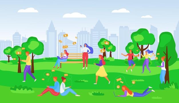 공원에서 문자 메시지를 보내는 사람들, 인터넷이 연결된 휴대전화, 벡터 삽화. 남자 여자 캐릭터는 소셜 네트워크 중독, 스마트폰 사용
