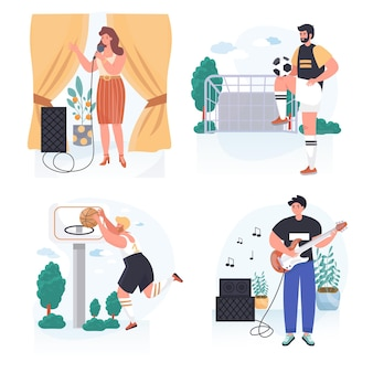 People do their favorite hobby concept scenes set vector illustration of characters