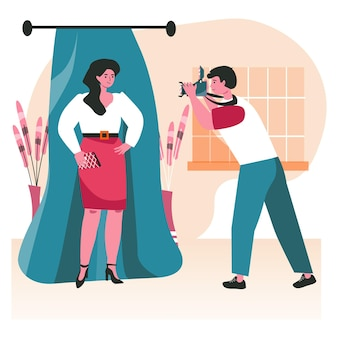 People do their favorite hobby scene concept. photographer makes photo session with posing woman. amateur photography, photo studio people activities. vector illustration of characters in flat design