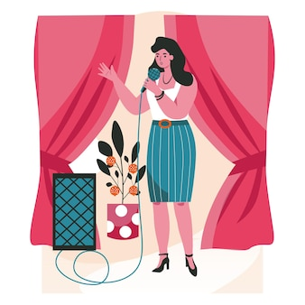 People do their favorite hobby scene concept. woman with microphone singing in karaoke. female singer performing song on stage people activities. vector illustration of characters in flat design