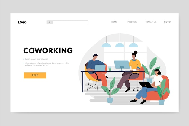 People at their workspace coworking landing page