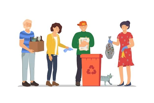 사람들은 쓰레기 재활용을 위해 쓰레기통에 쓰레기를 버립니다. 쓰레기 쓰레기통에서 폐기물 활용. 책임감 있는 남녀가 쓰레기통 근처에 서 있습니다. 환경 및 생태 벡터 일러스트 레이 션 저장