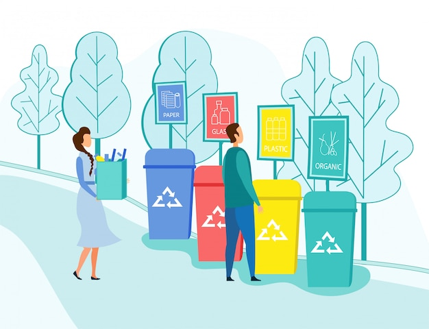People throw garbage into recycling containers