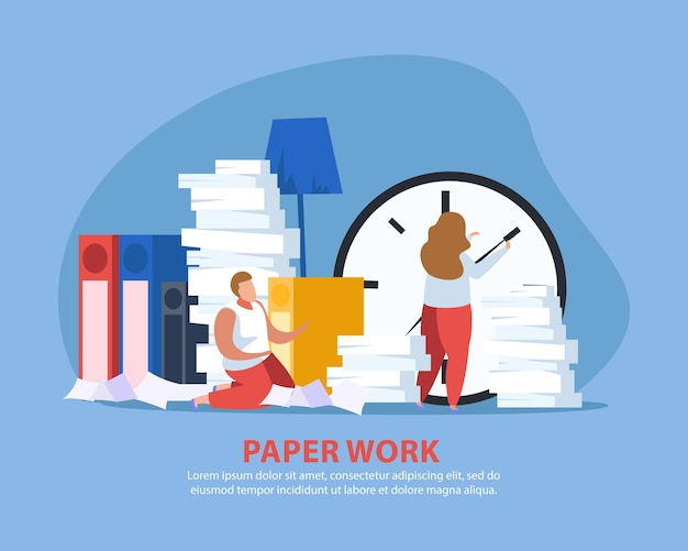 People tired from paperwork flat composition with doodle characters of people beyond huge piles of paper Free Vector