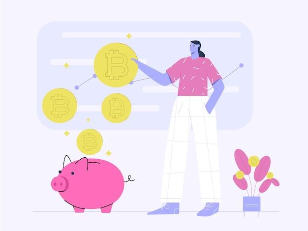 ビットコイン投資利益フラットイラストのトップにいる人々