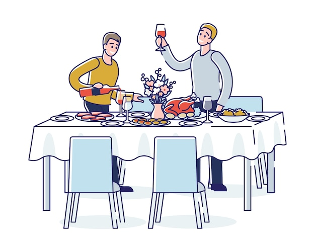 휴일 행사 또는 기업 연회 동안 건배하는 사람들 축하 파티