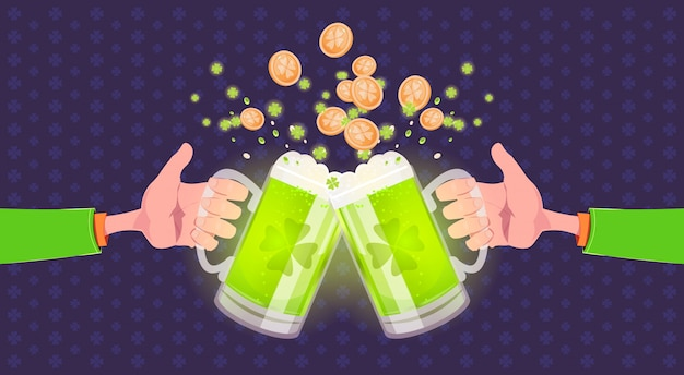 People toasting glasses of beer over happy st. patricks day background