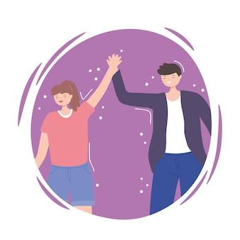 Люди вместе, счастливые мужчина и женщина, держась за руки, мужские и женские персонажи мультфильмов