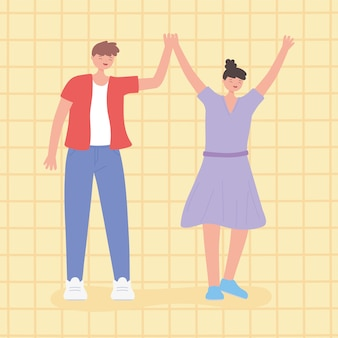 人々が一緒に、男性と女性が団結した男性と女性の漫画のキャラクターを手