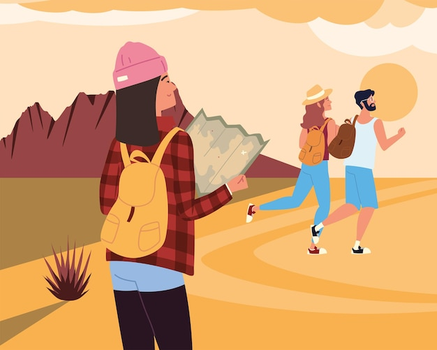 People tourists desert with map and backpacks