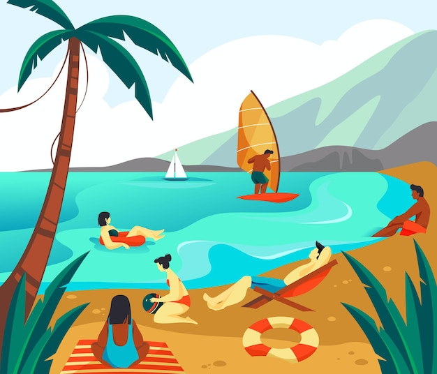 People or tourists have vacation seascape banner