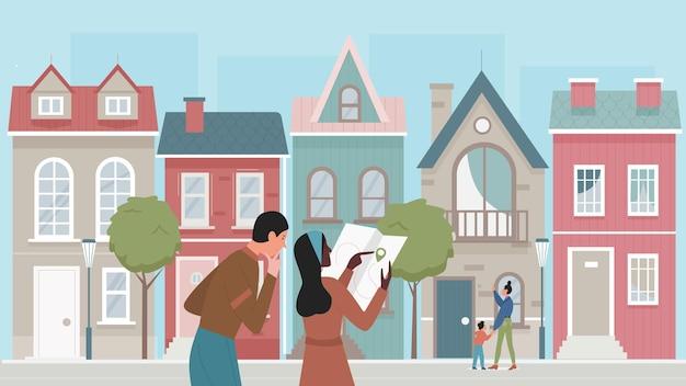 오래 된 도시 벡터 일러스트 레이 션에 사람들이 관광객. 만화 젊은 여성 여행자 캐릭터 지주지도, 유명한 건축물 랜드 마크로 시티 투어를 즐기는 커플