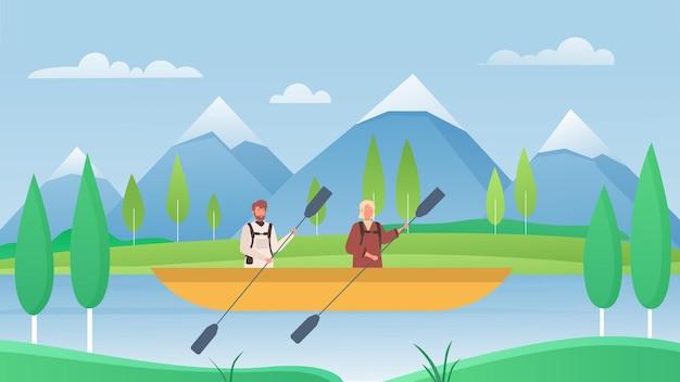 川のイラストでカヤックをする人々の観光客