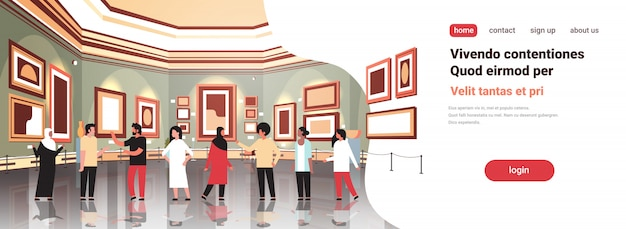 People tourists in modern art gallery museum interior looking creative contemporary paintings artworks or exhibits visitors meeting