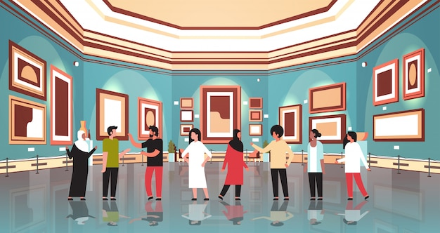 People tourists in modern art gallery museum interior looking creative contemporary paintings artworks or exhibits visitors