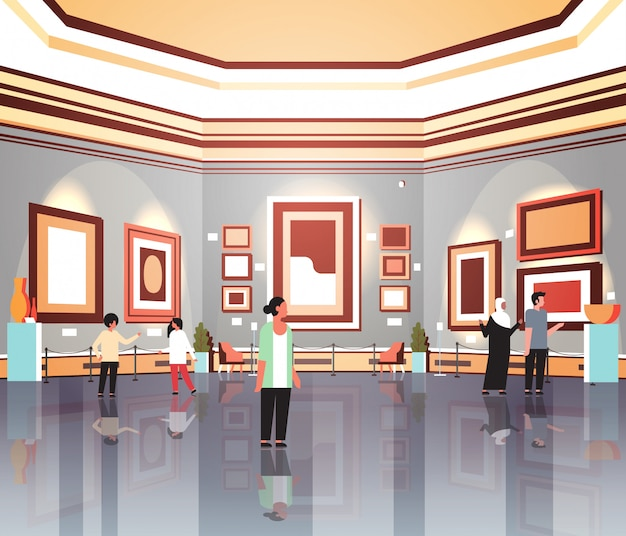 People tourists viewers in modern art gallery museum interior looking creative contemporary paintings artworks or exhibits flat