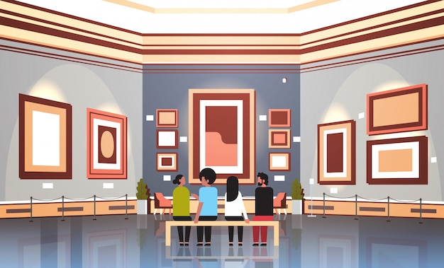 People tourists visitors in modern art gallery museum interior sitting on bench looking contemporary paintings artworks or exhibits horizontal