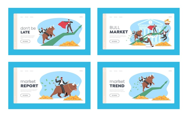 People trading on bull stock market landing page template