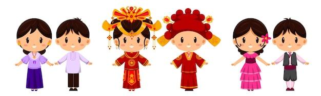 Persone nel carattere di abbigliamento tradizionale. l'abbigliamento internazionale rappresenta la cultura dei popoli di tutto il mondo