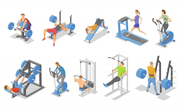 People and training apparatus in the gym. isometric set of fitness equipment symbols.