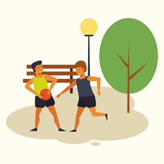 People training basketball at park cartoon