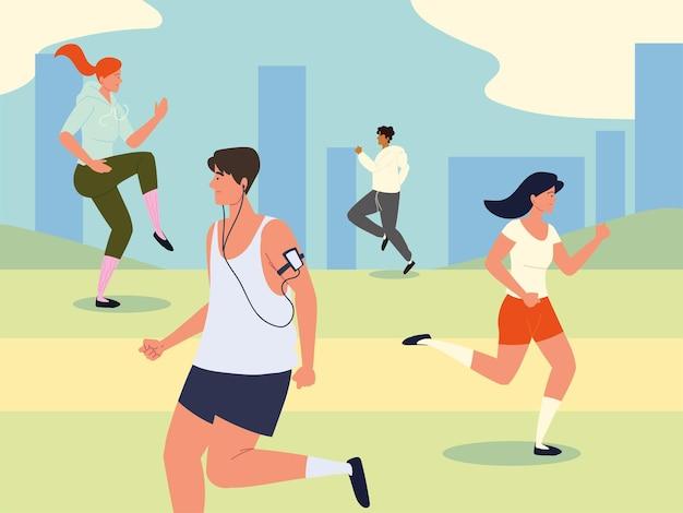Люди, тренирующие упражнения на улице