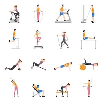 People training at gym icons set
