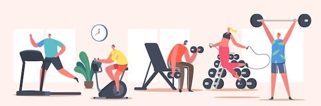 People training in gym. sportsmen and sportswomen characters run on treadmill, riding bicycle, workout with barbell and dumbbells, jumping with jump rope, sport life. cartoon vector illustration