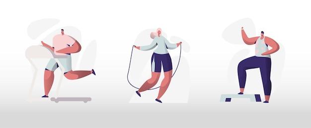 ジムセットでトレーニングする人々。男性と女性のキャラクターは、エクササイズ、フィットネストレーニング、ランニング、ロープでのジャンプなどのスポーツ活動に従事しています。健康的なライフスタイルのレジャー。漫画フラットベクトルイラスト