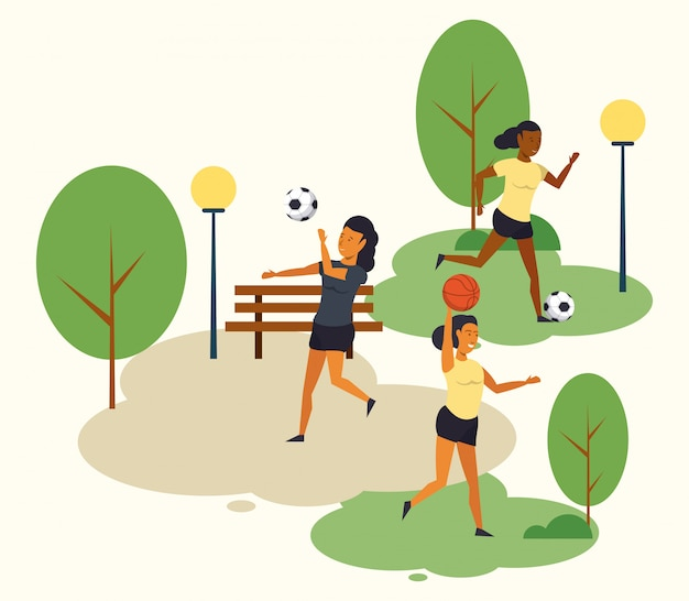 People training soccer at park cartoon