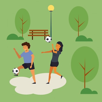 People training soccer at park cartoon