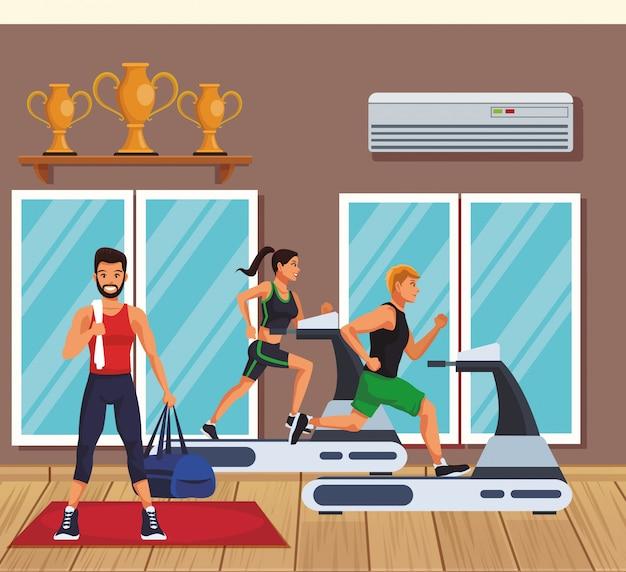 People trainning inside gym vector illustration graphic design