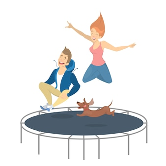 People on trampoline jumping with dog on white.