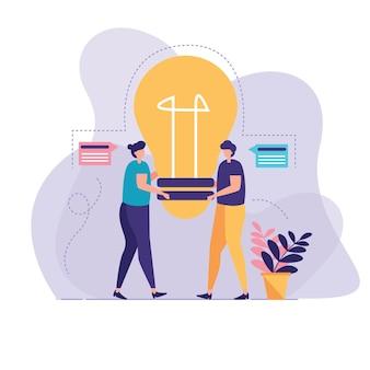 People transfer idea illustration