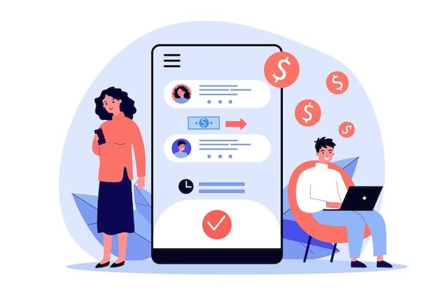 Люди переводят деньги через приложение для смартфона. мобильный телефон, наличные деньги, банковская иллюстрация. концепция финансов и цифровых технологий для баннера, веб-сайта или целевой веб-страницы