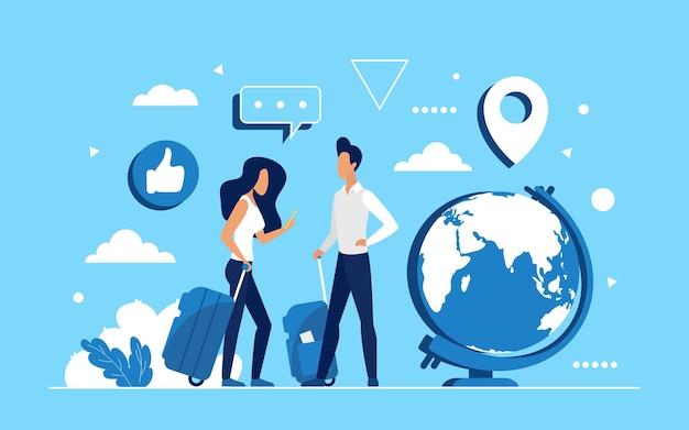 Люди путешествуют по миру с чемоданами и смартфоном