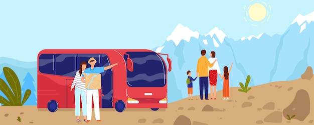 Люди путешествуют на автобусе