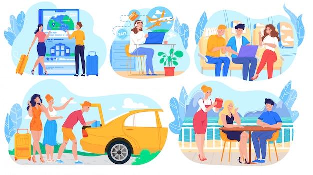 Люди путешествуют на самолете и машине, в командировке или на летних каникулах, набор героев мультфильмов, иллюстрация