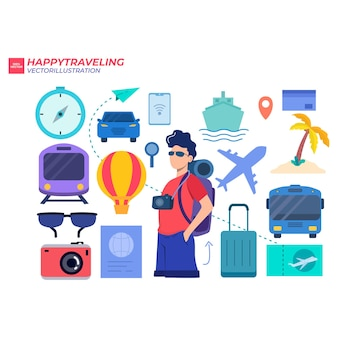 Люди путешествия символ иллюстрации в концепции отпуска