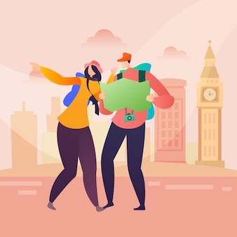 People travel character in london in flat style