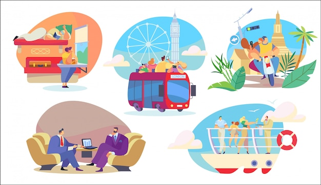 People travel in different transport, sightseeing and business trip, illustration