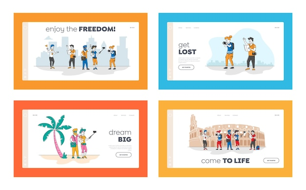 People travel landing page template set. group of young characters with backpacks and photo cameras traveling abroad. active tourists visit coliseum sightseeing with guide. linear