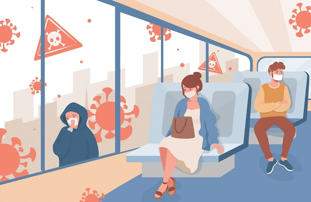 People travel on public city transport after coronavirus outbreak flat illustration. men and women in medical face masks keep safe social distance. new rules to protect from covid-19.