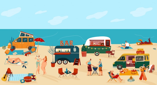 People travel in trailer illustration, cartoon flat happy man woman traveler camper characters have fun on camping beach festival