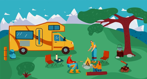 People travel in trailer illustration, cartoon flat man woman friend traveler characters cooking picnic food on campfire background