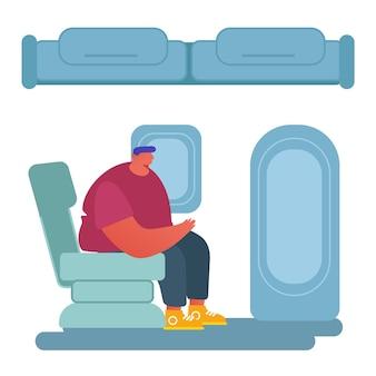 비행기 개념으로 여행하는 사람들.